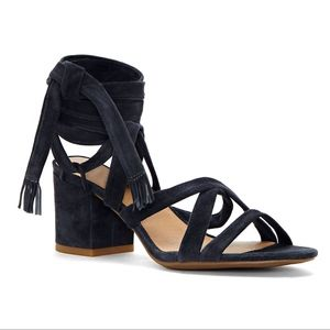NIB LUCKY BRANDS LACE UP HEEL IDALINA SUEDE BLACK